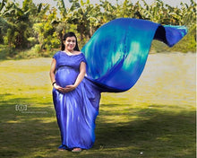 Load image into Gallery viewer, G400, Royal Blue Satin Long Trail Maternity Shoot Gown, Size - (XS-30 to XL-42)