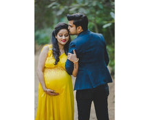 Load image into Gallery viewer, G178, Yellow Maternity Shoot Trail Baby Shower Gown, Size (XS-30 to XL-40)