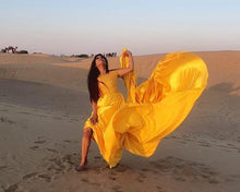 Load image into Gallery viewer, G278,(2) Yellow Maternity Shoot Satin Infinity Long Trail Gown Size (XS-30 to XL-40)