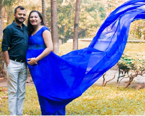 G200 (2), Royal Blue Long Trail Maternity Shoot Baby Shower Gown,  Size - (XS-30 to XXL-44)