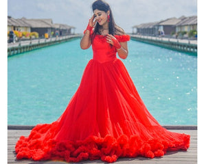 G137 (9), Luxury Red Puffy Cloud Trail Ball Gown, Size (XS-30 to xl 42)