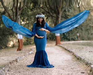 G207, Navy Blue Maternity Shoot Baby Shower Trail Gown, Size (XS-30 to XL-44)
