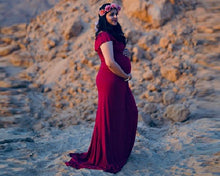 Load image into Gallery viewer, G42, Long Off Shoulder Wine Maternity shoot Baby Shower dress, Size (XS-30 to XXL-42)