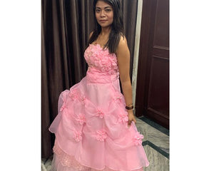 G228, Pink Tub Top Ball Gown, Size (XS-30 to XL-40)