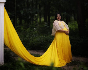 G178, Yellow Maternity Shoot Trail Baby Shower Gown, Size (XS-30 to XL-40)