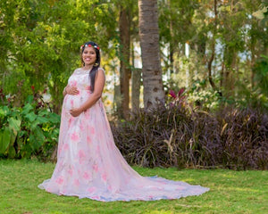 G210 (7), Light Pink Floral Maternity Shoot Baby Shower Trail Gown, Size (XS-30 to XXXL-46)
