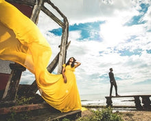 Load image into Gallery viewer, G178,(2) Yellow Prewedding Shoot Infinity Long Trail Gown Size (XS-30 to L-38)