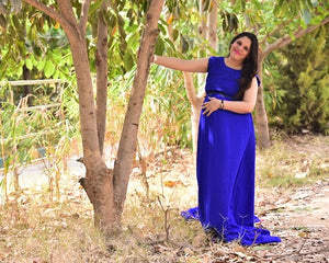 G138, Royal Blue Trail Gown Prewedding Shoot, Size - (XS-30 to XXXL-40)