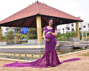 G218,(3) Purple Maternity Shoot Trail Baby Shower Gown, Size (XS-30 to XXL-42)