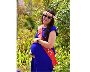 G138, Royal Blue Maternity Shoot Baby Shower Gown, Size - (XS-30 to L-40)