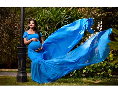 G46, Blue Maternity Shoot Trail Baby Shower Gown, Size (XS-30 to XXL-42)