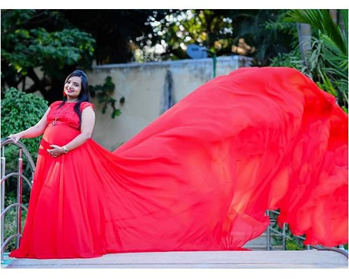 G600, Red Long Trail Maternity Shoot Baby Shower Gown,  Size - (XS-30 to XXL-44)