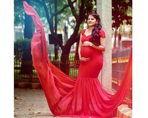 G215, Red Maternity Shoot Trail Baby Shower Gown, Size (XS-30 to XL-42)