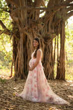 Load image into Gallery viewer, G210 (7), Light Pink Floral Maternity Shoot Baby Shower Trail Gown, Size (XS-30 to XXXL-46)