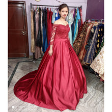Load image into Gallery viewer, G133, Wine colour Satin Full Sleeves Trail Ball gown, Size (XS-30 to M-35)