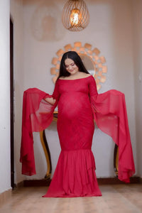 G223, Wine Red Floor Tuch Sleeves Maternity Shoot Trail Baby Shower Gown, Size (XS-30 to XXL-44)