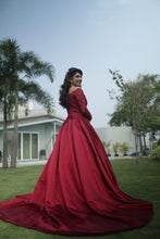 Load image into Gallery viewer, G229, Wine Satin Semi Off Shoulder Full Sleeves Prewedding Shoot Trail Ball Gown, Size (XS-30 to L-36)