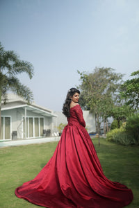 G229,(2) Wine Satin Semi Off Shoulder Full Sleeves Prewedding Shoot Trail Ball Gown, Size (XS-30 to  XXL44)