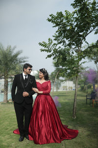 G429, Dark Wine Satin Semi Off Shoulder Full Sleeves Prewedding Shoot Trail Ball Gown, Size (XS-30 to XXL-44)
