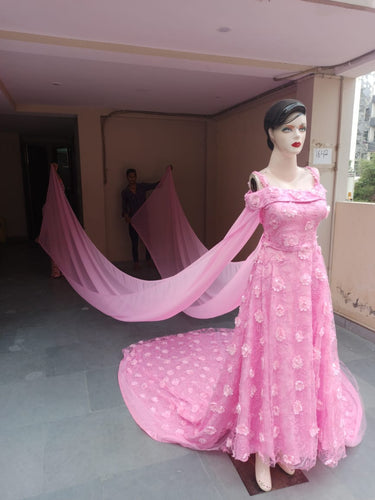 G401, Pink Flourish Trail Ball Gown, Size (XS-30 to XXL-44)