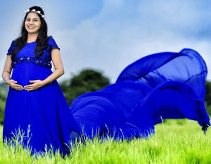 G300 (11), Royal Blue Long Trail Maternity Shoot Baby Shower Gown, Size - (XS-30 to XXL-44)