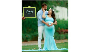 G243 (2) , Light Blue Maternity Shoot Baby Shower Trail Gown, Size (XS-30 to XXL-44)