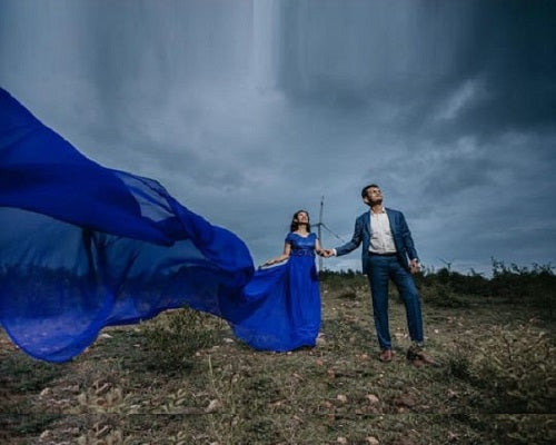 G300 (11), Royal Blue Long Trail Prewedding Shoot Gown, Size - (XS-30 to XXL-44)