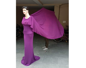 G346, Purple Maternity Shoot Baby Shower Trail Gown, Size (XS-30 to XXL-44)