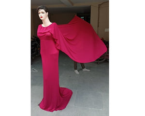 G446,(2) Wine Red Maternity Shoot Baby Shower Trail Gown, Size (XS-30 to XXL-44)
