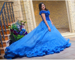 G237 (2),Luxury Royal Blue Puffy Cloud Trail Ball Gown,  Size - (XS-30 to XXL-42)