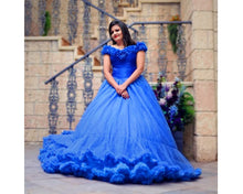 Load image into Gallery viewer, G237 (2),Luxury Royal Blue Puffy Cloud Trail Ball Gown,  Size - (XS-30 to XXL-42)