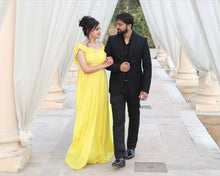 Load image into Gallery viewer, G178,(2) Yellow prewedding Shoot Long Trail Gown, Size (XS-30 to XXL-40)