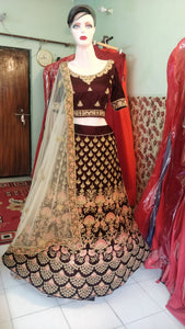 L30, Coffee pink Bridal multicolor Thread Work Lehenga  Size (XS-30 to XL-40)