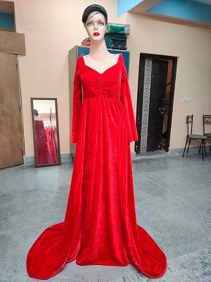 G24 Red Velvet Lycra Infinity Twin Trail Gown, Size (XS-30 to XXL-44)