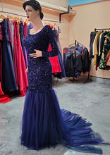 Load image into Gallery viewer, G321, Blue Top Sequence with Bottom Lace Cutout prewedding Trail Gown, Size (XS-30 to XL-44)