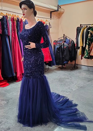 G321, Blue Top Sequence with Bottom Lace Cutout prewedding Trail Gown, Size (XS-30 to XL-44)