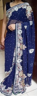 L66, Blue Saree, Size (XS-30 to L-38)
