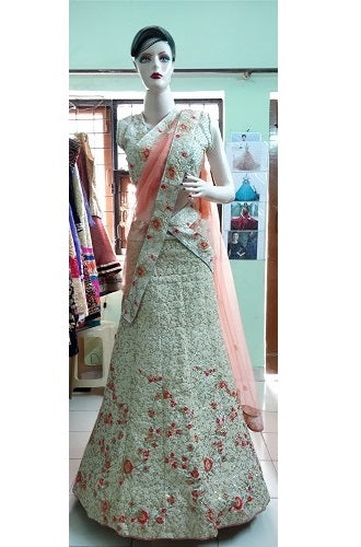 Cream threaded work lehenga, Size (XS-30 toXL-40), L19