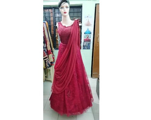 G103, Wine Shimmer Saree Gown, Size (XS-30 to XXXL-46)