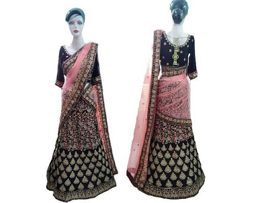 Coffee velvet Embroidered Lehenga,  Size (XS-30 toXL-40)