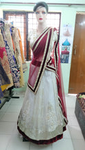Load image into Gallery viewer, L48, White Maroon Lehenga, Size (XS-30 to XL-40)