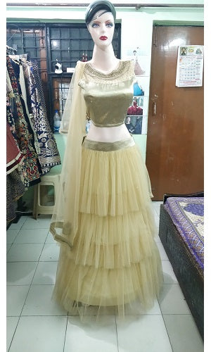 L49, Golden Lehenga, Size (XS-30 to XL-40)