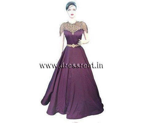High Neck Purple Gown, Size (S-32 to XXL-42)