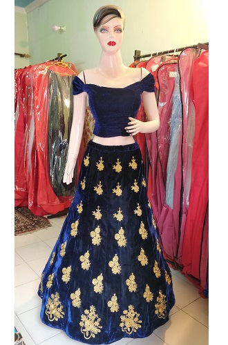 Crop top off shoulder blue lahenga, Size: (Size (XS-30 to XL-40), L16