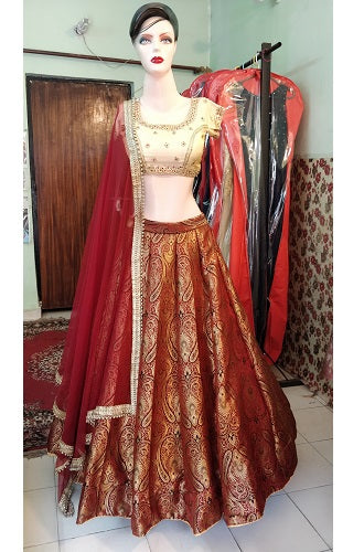 L32, Maroon Brocade Original Lehenga, Size (XS-30 to XL-40)