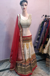 L72, Red Multicolor Lehenga, Size (XS-30 to XL-40)