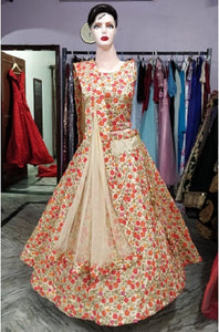 L74, Cream Flower Lehenga, Size (XS-30 to XL-40)