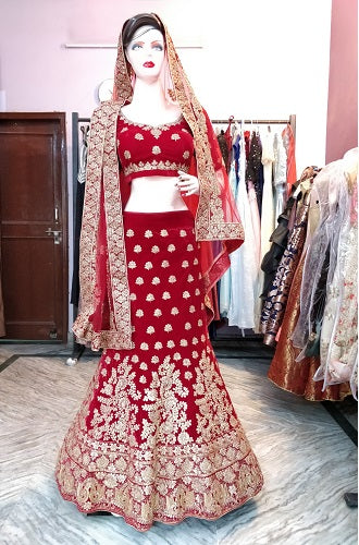 L76, Bridal Red Gota Patti Work Lehenga, Size (XS-30 to XL-40)