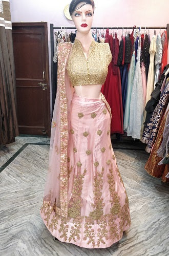 L78, Pink Golden Work Lehenga, Size (XS-30 to XL-40)