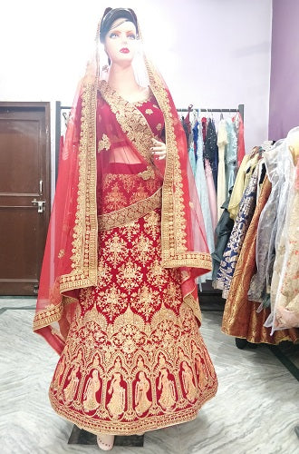 L77, Bridal Rajwadi Thread Work Lehenga, Size (XS-30 to XL-40)